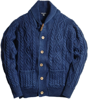 INDIGO KNITWEAR-Aran cardigain in Indigo-Original Blues